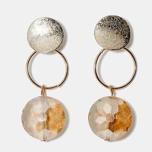 Gold Metal Disc with Gem Dangle Earrings